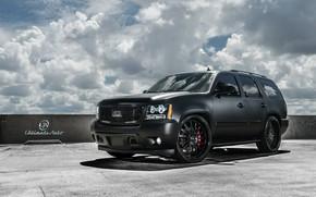 Картинка car, машина, небо, облака, тюнинг, Chevrolet, внедорожник, диски, black, tuning, колёса, matte, Tahoe, Ultimate Auto, …