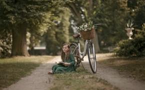 Картинка дорога, велосипед, девочка