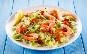 Картинка зелень, тарелка, креветки, морепродукты