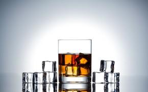 Картинка лед, стакан, алкоголь, виски