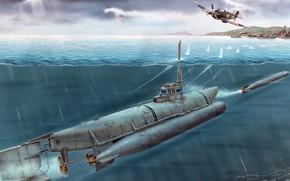 Обои Бибер, торпеда, Biber, Сверхмалая подводная лодка, Германия, spitfire, пуск, атака