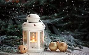 Картинка зима, украшения, Новый Год, Рождество, фонарь, light, Christmas, wood, winter, New Year, decoration, xmas, lantern, …