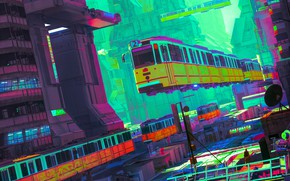 Картинка Цвет, Город, Поезд, City, Fantasy, Art, Фантастика, Транспорт, Летающий транспорт, by beeple, beeple, SYD CITY