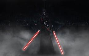 Картинка Туман, Star Wars, Dark Side, Fantasy, Световой меч, Арт, Ситх, Фантастика, Lightsabers, Illustration, Concept Art, …