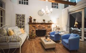 Картинка комната, мебель, люстра, камин, гостиная