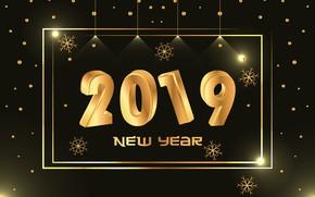 Картинка золото, Новый Год, цифры, golden, черный фон, black, background, New Year, Happy, sparkle, 2019