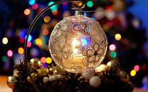 Картинка зима, свет, огни, праздник, свеча, шарик, Рождество, Новый год, подсвечник, ёлочные игрушки, новогодние украшения, ёлочный …
