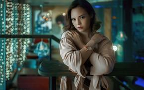Картинка lights, woman, model, Ирина, Irina, staircase, watch, looking at the viewer, Andrey Metelkov, Андрей Метельков