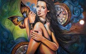 Картинка девушка, рисунок, цветные карандаши