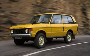 Картинка дорога, разметка, Land Rover, Range Rover, сбоку, 1970, 4x4, SUV