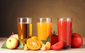 Картинка листья, стол, фон, яблоки, апельсины, три, стаканы, фрукты, овощи, помидоры, боке, соки, апельсиновый, томатный, яблочный