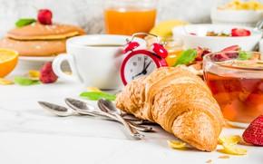 Картинка ягоды, чай, еда, завтрак, фрукты, выпечка, круассан, оладьи