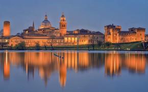 Картинка огни, отражение, Италия, Ломбардия, Мантуя