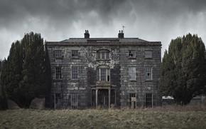 Картинка поле, дом, мрак
