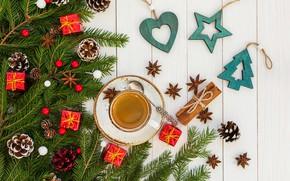 Картинка праздник, Дерево, Синий, Сердце, Кофе, Звезда, Рождество, украшение, Ёлка, композиция, Rights Reserved, LAIMDOTA GRIVANE