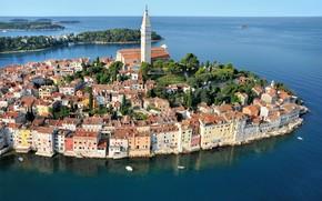 Картинка море, дома, Хорватия, Ровинь, Истрия