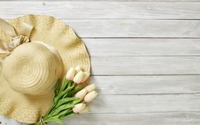 Картинка букет, тюльпаны, шляпка