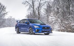 Картинка Subaru, Impreza, WRX, Blue, Winter, STI, Snow, White