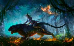 Картинка Кошка, Лес, Пантера, Fantasy, Night, Фантастика, Cat, Феникс, Phoenix, Panther, Forest, Ноч, Fireflies, Artyom Smirnov, …