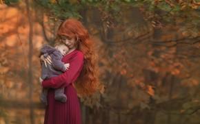 Картинка природа, женщина, малыш, рыжая, мама, ребёнок, мать, Chudak Irena