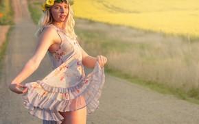 Картинка дорога, лето, платье, венок