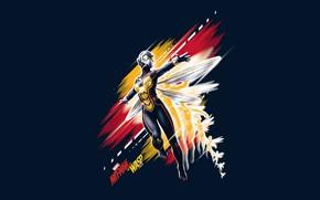 Картинка фон, фантастика, крылья, костюм, Evangeline Lilly, постер, комикс, Эванджелин Лилли, MARVEL, Wasp, Hope van Dyne, ...