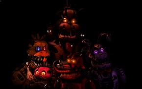 Картинка ночь, светящиеся глаза, Five Nights at Freddy's, Пять ночей у Фредди