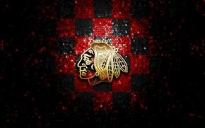 Картинка wallpaper, sport, logo, NHL, hockey, glitter, checkered, Chicago Blackhawks