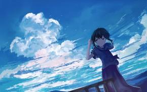 Картинка взгляд, облака, девочка
