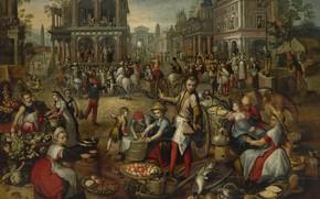 Картинка масло, картина, Иоахим Бейкелар, Joachim Beuckelaer, Рыночная площадь. На заднем плане Бичевание, 1590