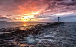 Картинка море, закат, маяк, Ostsee Sunset