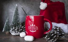 Картинка украшения, елка, Новый Год, Рождество, кружка, Christmas, cup, New Year, decoration, Merry, hot chocolate, marshmallow, …