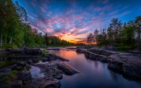 Картинка лес, закат, речка, Финляндия