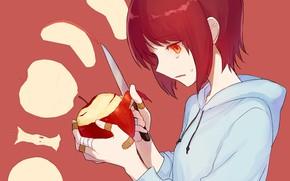 Картинка нож, девочка, чистит, ябоко