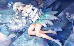 Картинка девушка, лёд, корона, лежит, Honkai Impact 3rd
