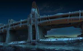 Картинка небо, облака, ночь, мост, дизайн, конструкция, звёзды, водоём, Sentinel bridge