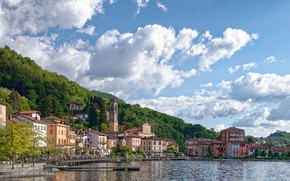 Картинка небо, деревья, озеро, пристань, Италия, пирс, Porto Ceresio, lake Lugano