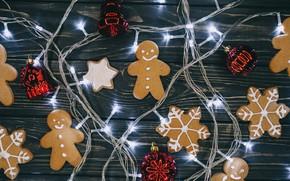 Картинка украшения, Новый Год, печенье, Рождество, гирлянда, Christmas, New Year, cookies, decoration, gingerbread, Merry