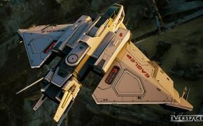 Картинка полёт, вид сверху, космический корабль, звездолёт, космолёт, Everspace 2