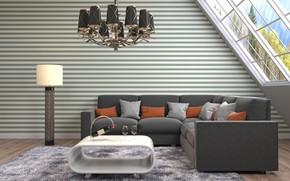 Картинка диван, интерьер, люстра, столик, гостиная, модерн