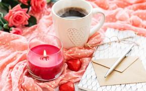 Картинка кофе, ручка, чашка, блокнот, композиция, Olena Rudo