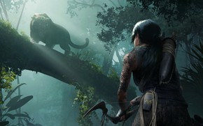 Обои game, jungle, Lara Croft, beast, Shadow of the Tomb Raider