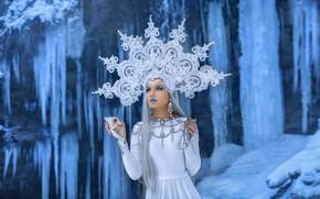 Картинка взгляд, лед, корона, водопады, волосы, зеркало, девушка, Andrey Metelkov, королева