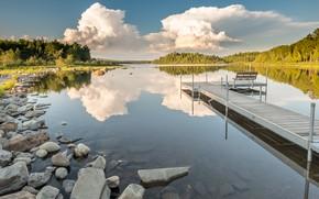Картинка лес, лето, небо, облака, скамейка, озеро, отражение, камни, релакс, берег, лавочка, мостик, мостки, водоем, водная …