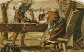 Картинка плотники, Артур Хьюз, Юность Христа