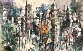 Картинка город, рисунок, архитектура