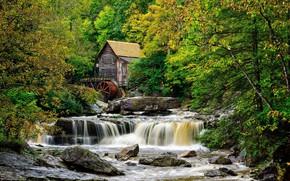 Картинка пейзаж, река, мельница
