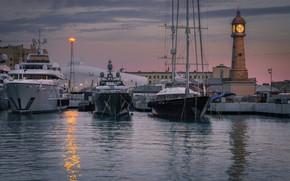 Картинка вода, часы, здания, лодки, утро, порт