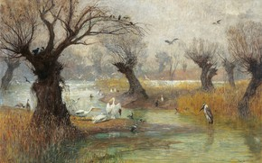 Картинка Austrian painter, oil on canvas, Пеликаны на берегу реки, Гуго Шарлемон, Pelicans on the Riverbank, …