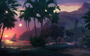Картинка Закат, Океан, Море, Пляж, Музыка, Пальма, Звезда, Стиль, Пальмы, Фон, Побережье, 80s, Style, Illustration, 80's, …